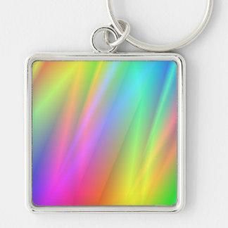 Lluvia del arco iris llavero cuadrado plateado