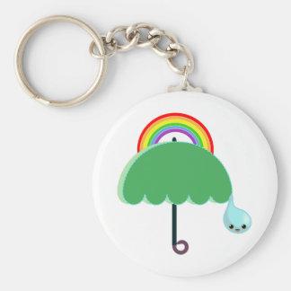 lluvia del descenso del paraguas del arco iris llavero redondo tipo pin