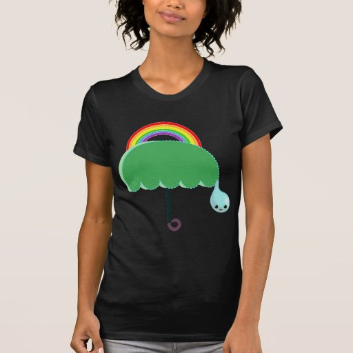lluvia del descenso del paraguas del arco iris camisetas