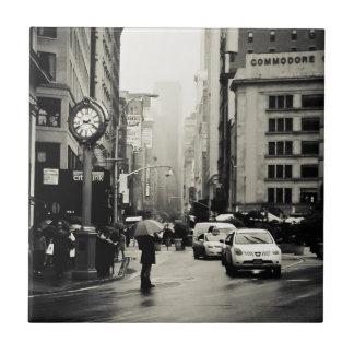 Lluvia en New York City - estilo del vintage Azulejo Cuadrado Pequeño