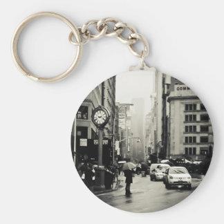 Lluvia en New York City - estilo del vintage Llaveros Personalizados