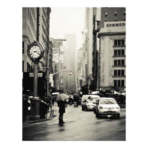 Lluvia en New York City - estilo del vintage Membrete Personalizado