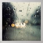 Lluvia en ventana póster