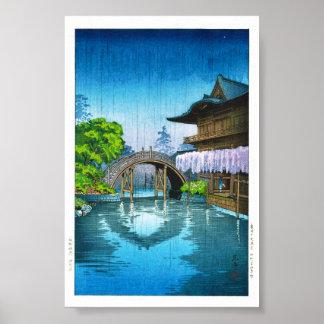 Lluvia oriental fresca del lago shrine de Kameido  Poster