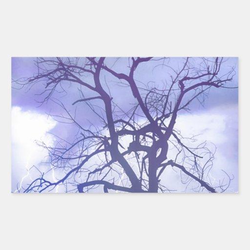 Lluvia púrpura pegatina rectangular