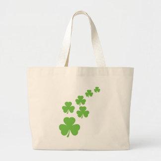 lluvia verde de los tréboles bolsa tela grande
