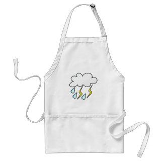 Lluvia y relámpago en tempestad de truenos delantal