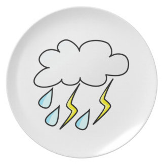 Lluvia y relámpago en tempestad de truenos plato para fiesta