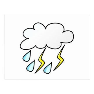 Lluvia y relámpago en tempestad de truenos postales