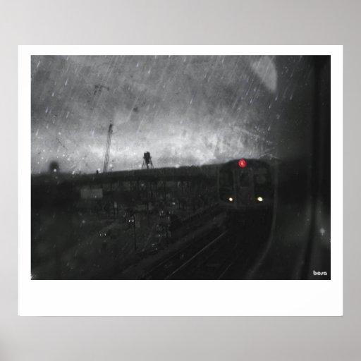 Lluvia y tren impresiones