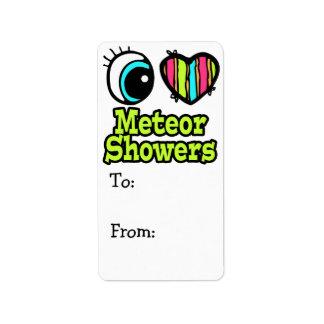 Lluvias de meteoritos brillantes del amor del cora etiqueta de dirección