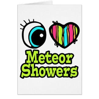 Lluvias de meteoritos brillantes del amor del tarjeta de felicitación