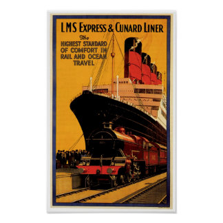 LMS expresan y el trazador de líneas de Cunard Poster