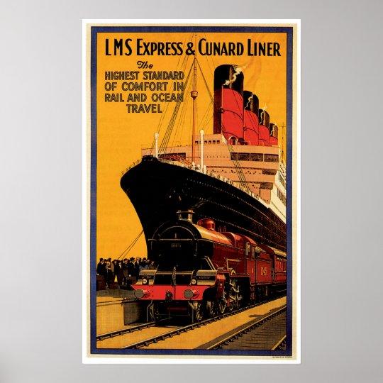 LMS Express & Cunard Liner Vintage Ship Ad Poster