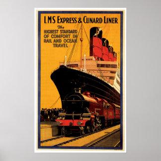 LMS Express & Cunard Liner Vintage Ship Ad Print