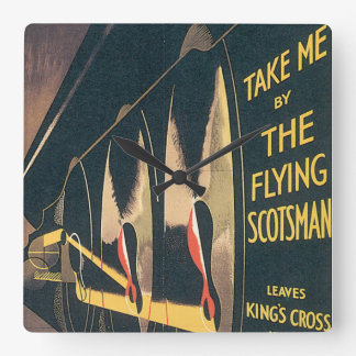 LNER The Flying Scotsman Vintage Travel Poster Square Wall Clock