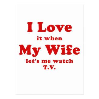 Lo amo cuando mi esposa me deja ver la TV Tarjeta Postal