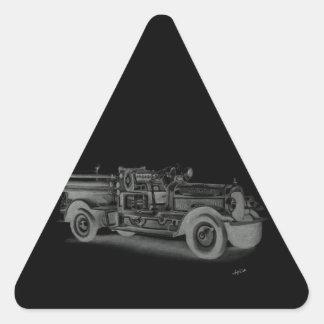 lo contrario dibujado mano del coche de bomberos d calcomanía triangulo personalizadas