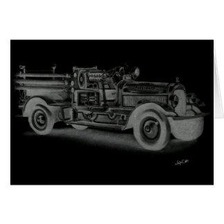 lo contrario dibujado mano del coche de bomberos d tarjeta de felicitación
