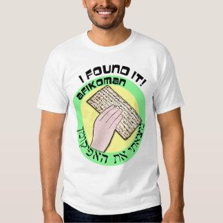 ¡Lo encontré! Afikoman en inglés y hebreo Remeras
