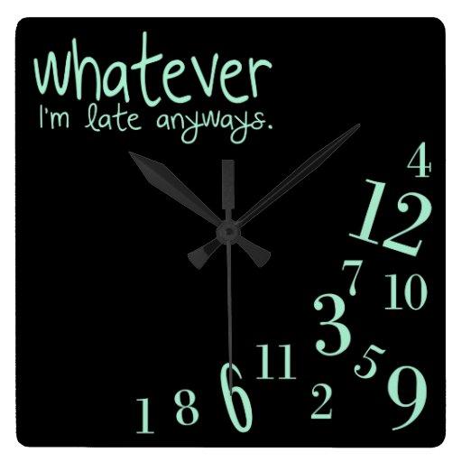 lo que - acuñe en negro reloj cuadrado