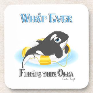 Lo que flota su ballena de la orca posavasos de bebidas