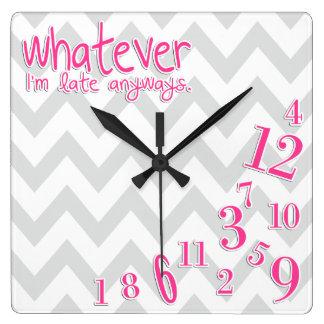 lo que - rosas fuertes en galón gris y blanco reloj cuadrado
