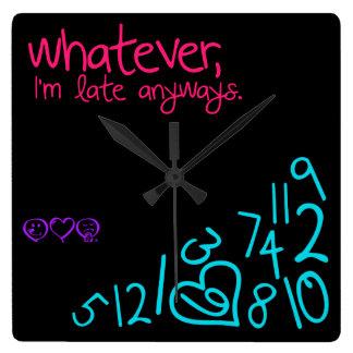 lo que, soy atrasado de todos modos - rosa, reloj cuadrado