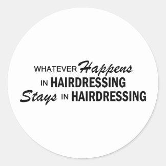 Lo que sucede - peluquería etiquetas redondas
