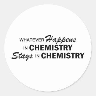 Lo que sucede - química pegatina redonda