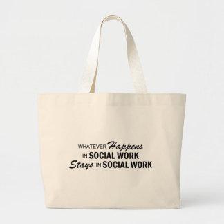 Lo que sucede - trabajo social bolsa tela grande