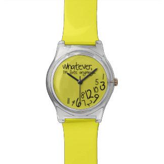 Lo que yo son atrasados de todos modos - amarillo relojes de pulsera