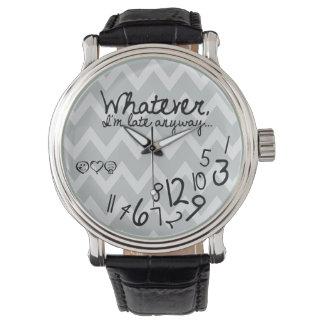 Lo que, yo son atrasados de todos modos - logotipo reloj