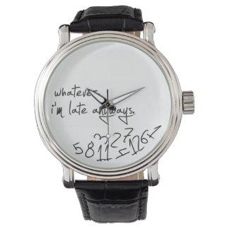 lo que, yo son atrasados de todos modos - negro reloj de mano