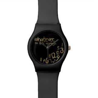 Lo que yo son atrasados de todos modos - negro y reloj de mano