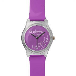 Lo que, yo son atrasados de todos modos - púrpura reloj