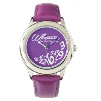 lo que, yo son atrasados de todos modos - púrpura relojes