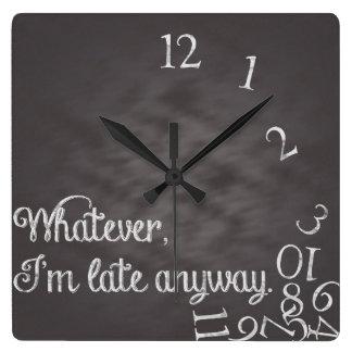 Lo que, yo son atrasados de todos modos registre reloj de pared