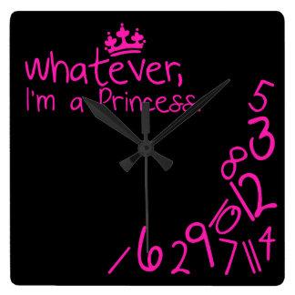 Lo que, yo son princesa reloj cuadrado