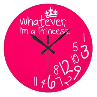 Lo que, yo son princesa reloj redondo grande