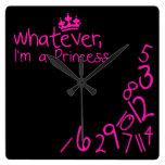 Lo que, yo son princesa relojes de pared