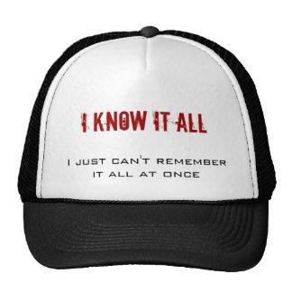 Lo sé todo, yo apenas no puedo recordarlo todo en… gorros bordados