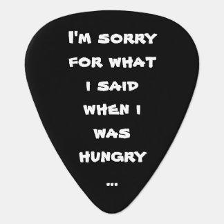 Lo siento para lo que dije cuándo tenía hambre… púa de guitarra