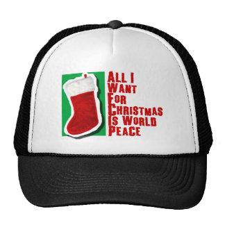 Lo único que quiero para el navidad es paz de mund gorro de camionero