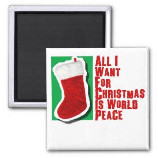 Lo único que quiero para el navidad es paz de mund imán cuadrado