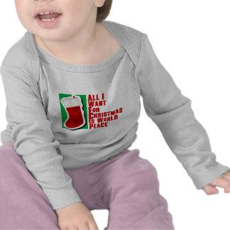 Lo único que quiero para el navidad es paz de mund camiseta