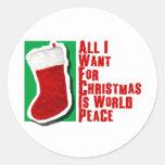 Lo único que quiero para el navidad es paz de etiquetas redondas