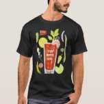"""Loaded Bloody Mary Mens Tshirt<br><div class=""""desc"""">Loaded Bloody Mary shirt with sausage,  cheese,  olives,  shrimp,  celery and more for those guys who love their Bloody Marys. Edit the text to add your own words. Great gift for the groomsmen and Sunday brunch lovers. Cheers! from Buckner Design House.</div>"""