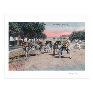 Loaded Donkeys on the StreetLas Vegas, NM Postcard