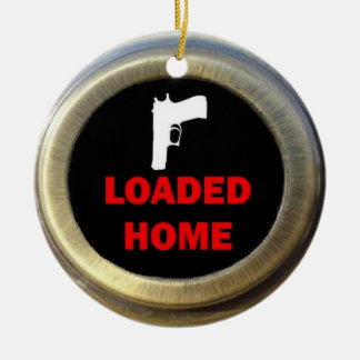 Loaded Gun Home Double-Sided Ceramic Round Christmas Ornament